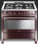 Smeg 90cm Opera Cooker - Wine Red High Gloss