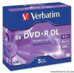 Verbatim DVD+R Double Layer Matt Silver 8x 8.5GB DVD-R 5 Pack Jewel Case