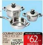 Courmet Gold 5 Piece Pot Set