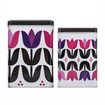 Sagaform Square Tulip-motif Storage Tins Set Of 2