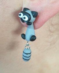 Handmade Clay Earrings - Raccoons