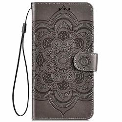 Ikasefu Compatible With Huawei Mate 20 Lite maimang 7 Case Emboss Sun Mandala Floral Pu Leather Wallet Strap Case Card Slots Shockproof Magnetic Stand Folio