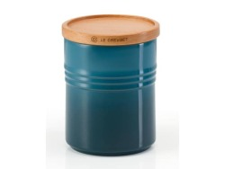 Le Creuset Medium Stoneware Storage Jar With Wooden Lid Deep Teal