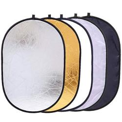 "5-IN-1 Reflector Photography 35"" X 47"" Photo Studio Portable Collapsible Oval Large Light Reflectors diffuser Accessories Kit Wi"