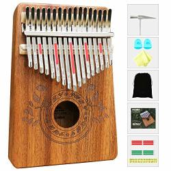 Kalimba 17 Keys Thumb Piano With Study Instruction And Tune Hammer Portable Mbira Sanza African Wood Finger Piano For Kids Adult Beginners.