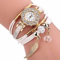 Wuai Women's Leather Watch Wrap Around Bracelets Watch Multi-layer Rhinestone Bracelet Band Wristwatches