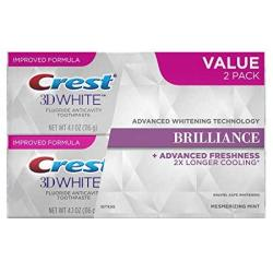 Crest 3D White Brilliance Fluoride Anticavity Teeth Whitening Toothpaste Mesmerizing Mint 4.1 Oz. Each Twin Pack
