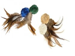 Kong - Natural Crinkle Plush Ball Toy With Feathers