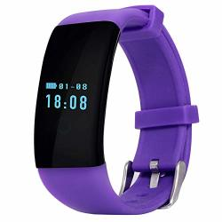 Jingbo Fitness Tracker Activity Watch And Heart Rate Monitor IP65 Waterproof Touch Screen Smart Bracelet For Women Men Kids With Sleep Monitor Pedometer Purple