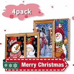 4 Pack Full Drill Christmas Diamond Painting Kit 5D Diy Diamond Painting Rhinestone Pictures Of Crystals Embroidery Kits Arts For Adults And Beginner Diamond