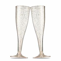 Clear Hard Disposable Party /& Wedding Cups Gold Rim by Bloomingoods 5.5 oz Premium Heavy Duty Fancy Champagne Flute or Toasting Glasses 50 Plastic Rose Gold Rimmed Champagne Flutes 50-Pack