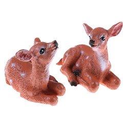 TATEELY 2 Pcs MINI Deers Fairy Garden Miniatures Decor Anime Dollhouse Terrarium Animals Action Figures Figurine Diy Micro Landscape