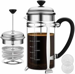 French Press Coffee Maker 8 Cups 34 Oz Durable Easy Clean Coffee Pot Heat Resistant Borosilicate Glass - 100% Bpa Free