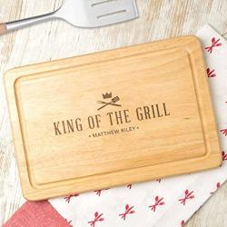 Personalized 'king Of The Grill' Wooden Bbq Cutting Board - Grilling Gifts For Men - Personalized Cooking Gifts For Men - Bbq Gifts For Men