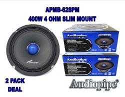 "1 Pair Audiopipe APMB-628PM 6"" Slim Mid Full Range Loud Car Audio Speaker Bullet 4 Ohm 400W"