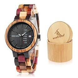 Bobo Bird Women Wood Watches Colorful Wood Wristwatches Week & Date Display Multifunction Handmade Quartz Watch Sport Chronograp