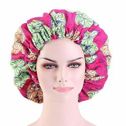 Cccho Colourful Extra Large Turbans Double Layered Sleep Bonnet Satin Liner Hat Elastic Band Beanie African Hair Wrap Shower Cap Rose Red