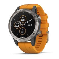 Garmin Fnix 5 Plus Premium Multisport Gps Smartwatch Features Color Topo Maps Heart Rate Monitoring Music And Garmin Pay Titanium orange
