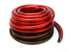 VOODOO 50 ft 25 Red /& 25 Black 4 AWG Gauge Power Ground Wire w//AGU Fuseholder /& 100 Amp Fuse