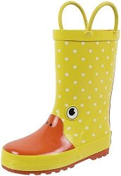 Rainbow Daze Kids Rain Boots Gone Quackers Yellow Duck Waterproof 100% Rubber Size 9 10