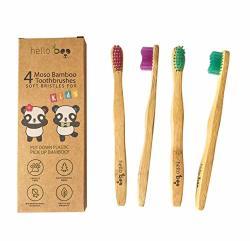One Diamond K Bamboo Toothbrush For Kids 4-PACK Biodegradable Tooth Brush Set - Organic Eco-friendly Moso Bamboo With Ergonomic Handles & Soft Bpa Free Nylon Bristles |