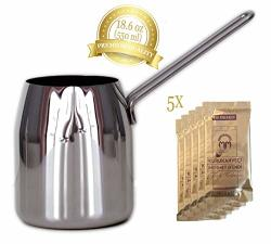 18.6 Ounce Turkish Coffee Pot Polished Stainless Steel Warmer Milk Ibrik Cezve Arabic Briki Stovetop Coffee Maker Espresso Decanter Medium 18.6 Oz