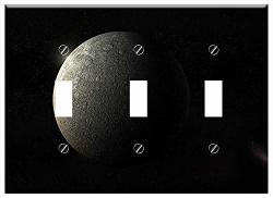 Switch Plate Triple Toggle - Moon Planet Universe Andromeda Darkside Background