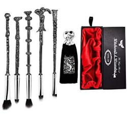 Makeupalley Harry Potter Wand Makeup Brush Set - 5 Metal Magic Wands Wizard Brushes In A Gift Kit Bag And Box - Perfect For