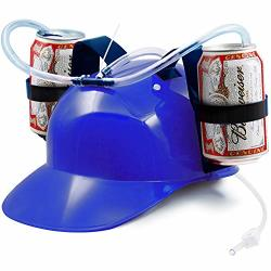 Novelty Place Guzzler Drinking Helmet - Adjustable Can Holder Cap Drinker Favor Hat - Straw For Beer Soda - Party Fun Beverage G