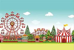 Csfoto 7X5FT Background For Amusement Park Photography Backdrop Circus Performance Carnival Festive Tricket Carousel Banner Birthday Party Decor Child