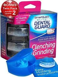 SmartGuard Elite Dental Guard Twin Pack & Hygiene Case : Less Bulky Mouth Guard For Grinding Teeth Front-tooth Night Guard Desig