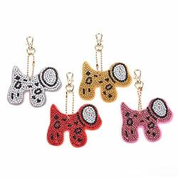 Hullonguuo Christmas Horse Keyring Diy Diamond Painting Special Shaped Key Ring Diamond Painting Ornaments Pendants Small Diamond Art For Kids And Adult Beginners 4PCS