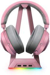 Kraken Razer Gaming Headset + Rgb Headset Stand Bundle: Quartz Pink