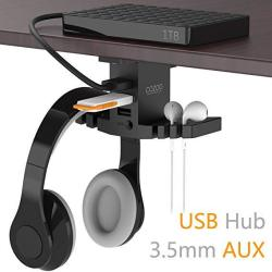 Headphone Stand With USB Hub Cozoo Under Desk Headset Hanger Mount Dual Hook Holder With 3 USB Ports USB3.0+USB2.0 And 3.5MM Jac