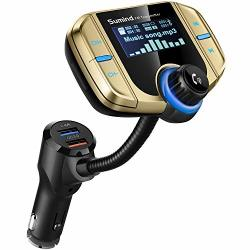 Upgraded Version Sumind Car Bluetooth Fm Transmitter Wireless Radio Adapter Hands-free Kit With 1.7 Inch Display QC3.0 And Smart