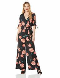 Jack By Bb Dakota Womens Do You Poppy Printed Cdc Jumpsuit W sleve Ties Black Medium