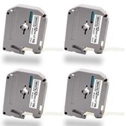 """4PK 1//2/"""" MK231 M-K231 M231 Black on White Label Tape For Brother P-touch PT-70BM"""