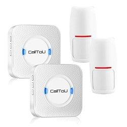 CallToU Wireless Door Entrance Alarm Entry Alert Driveway Chime Motion Detector Sensor Long Range 1000FT+ 2 Receivers + 2 Pir Sensors