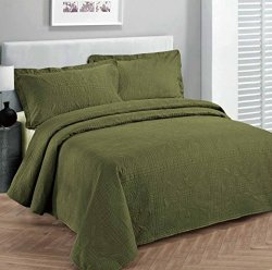 """Fancy Collection 3PC Luxury Bedspread Coverlet Embossed Bed Cover Solid Olive Green New Over Size Full queen 100"""" X 106"""