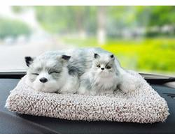Happy Hour Us MINI Petzzz Puppy Emulation Sleeping Breathing Dog Mother And Child Toy Pet With Activated Carbon Bed For Car Dash - Siberian Husky 2