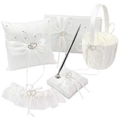 Kanech 5PCS Sets-ivory Satin- Wedding Flower Girl Basket And Ring Bearer Pillow Set Ring Pillow + Flower Girl Basket + Wedding G