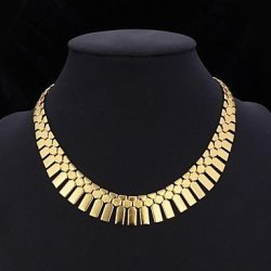 Bib Men's Necklace Choker Statement Necklace 18K Real Gold Platinum Plated Pendants Jewelry For Women Long Chains 46CM