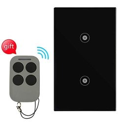 Light Touch Switch With Tempered Glass Panel Rf Wireless Remote Control 100' Rf Range No Interference Us Standard Modern Wall Switch No Hub Required