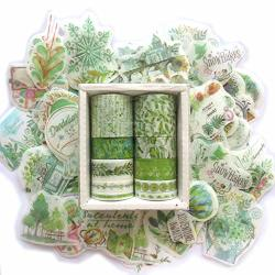 Dzdzcrafts 10 Rolls Green Decorative Washi Tapes And 60 Stickers Set For Scrapbooking Dairy Planner Album