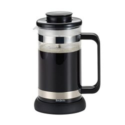 Meyer Bonjour Coffee Borosilicate Glass French Press With Coaster & Scoop 33.8-OUNCE Riviera Black