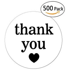 """Wootile 2"""" White Semi Gloss Thank You Stickers With Black Print 500 Round Adhesive Labels"""