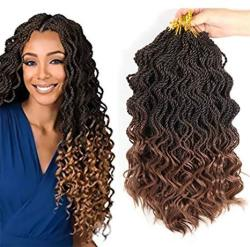 Mtmei Hair Ombre Crochet Braids 35 Strands pack 14 Inch Curly Senegale Twist Hair Synthetic Braiding Hair Extensions 5 Packs T30