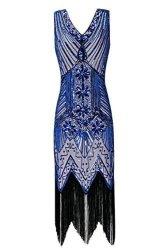 897f94913037 Women s Metme 1920S V Neck Beaded Fringed Gatsby Theme Flapper Dress For  Prom