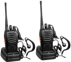Arcshell Rechargeable Long Range Two-Way Radios With Earpiece 2 Pack Uhf 400-470MHZ Walkie Talkies Li-ion Battery And Charger In