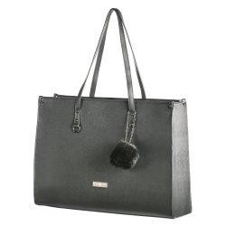 Supernova 15.6 Inch Pompom Ladies Laptop Bag Blac Black